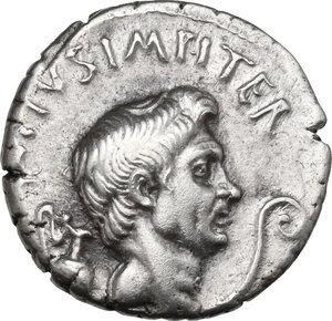 obverse: Sextus Pompeius . AR Denarius, 37-36 BC. Sicily