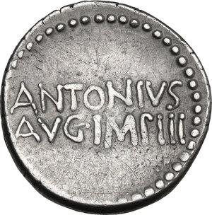 reverse: Mark Antony. AR Denarius, mint moving with M. Antony, 33 BC