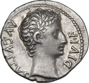 obverse: Augustus (27 BC-14 AD) . AR Denarius, Lugdunum mint. Struck 15-13 BC