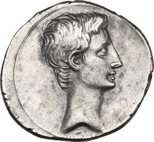 obverse: Augustus (27 BC-14 AD) . AR Denarius, 29-27 BC