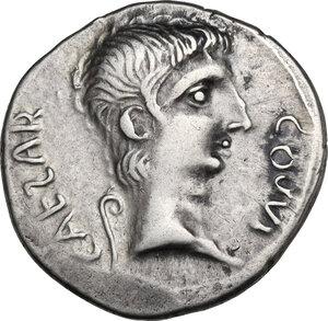 obverse: Augustus (27 BC-14 AD) . AR Denarius. Imitation of an uncertain Italian mint issue, c. 29-27 BC