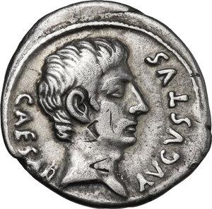 obverse: Augustus (27 BC-14 AD) . AR Brockage Denarius, c. 18-13 BC