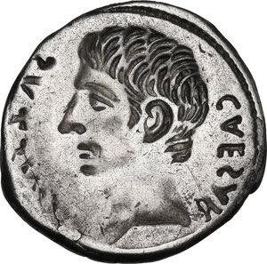 reverse: Augustus (27 BC-14 AD) . AR Brockage Denarius, c. 18-13 BC