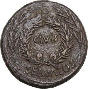 obverse: Augustus (27 BC-14 AD) . AE Sestertius, P. Licinius Stolo, moneyer, 17 BC