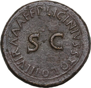 reverse: Augustus (27 BC-14 AD) . AE Sestertius, P. Licinius Stolo, moneyer, 17 BC