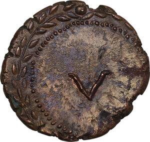 reverse: Time of Tiberius. AE Spintria, c. 22-37 AD