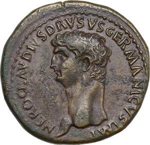obverse: Nero Claudius Drusus, brother of Tiberius and father of Claudius (died 9 AD). AE Sestertius, struck under Claudius, 50-54