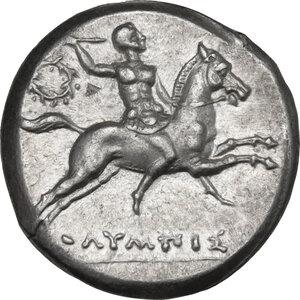 obverse: Southern Apulia, Tarentum. AR Nomos, c. 240-228 BC. Olympis magistrate