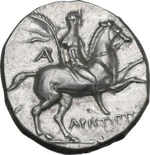 obverse: Southern Apulia, Tarentum. AR Nomos, c. 240-228 BC, Aristippos magistrate