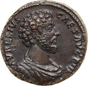 obverse: Marcus Aurelius as Caesar (139-161). AE Sestertius, Rome mint. Struck under Antoninus Pius,158-159 AD