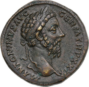 obverse: Marcus Aurelius (161-180). AE Sestertius, 163-164 AD