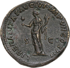 reverse: Marcus Aurelius (161-180). AE Sestertius, 163-164 AD