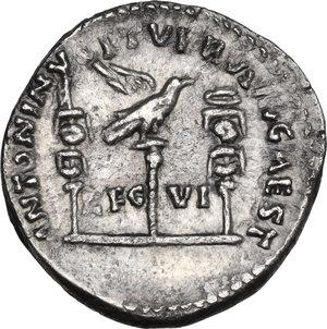 reverse: Marcus Aurelius (161-180) with Lucius Verus. AR Denarius. Restitution issue of a Mark Antony legionary denarius
