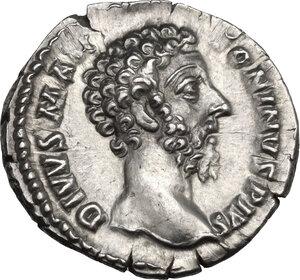 obverse: Marcus Aurelius (Divus, died 180 AD). AR Denarius, Consecration issue struck under Commodus