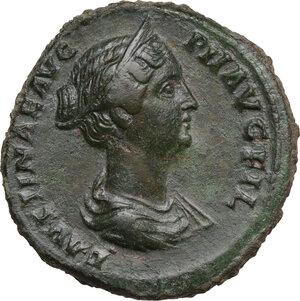 obverse: Faustina II, wife of Marcus Aurelius (died 176 AD). AE Sestertius. Struck under Antoninus Pius, 145-146