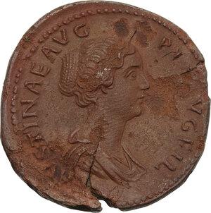 obverse: Faustina II, wife of Marcus Aurelius (died 176 AD). AE Sestertius, struck under Antoninus Pius, 145-146 AD