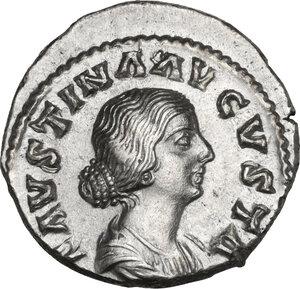 obverse: Faustina II, wife of Marcus Aurelius (died 176 AD). AR Denarius. Struck under Marcus Aurelius and Lucius Verus, circa 161 AD