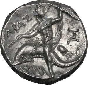 reverse: Southern Apulia, Tarentum. AR Nomos, c. 240-228 BC. Xenokrates magistrate