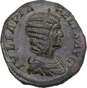 obverse: Julia Domna, wife of Septimius Severus (died 217 AD). AE Sestertius