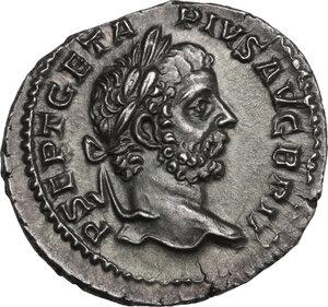 obverse: Geta (198-212). AR Denarius, 211 AD