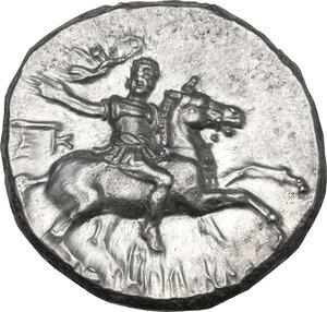 obverse: Southern Apulia, Tarentum. AR Nomos, c. 240-228 BC. Kallikrates magistrate