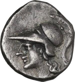 obverse: Southern Apulia, Tarentum. AR Diobol, c. 280-228 BC