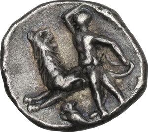 reverse: Southern Apulia, Tarentum. AR Diobol, c. 280-228 BC
