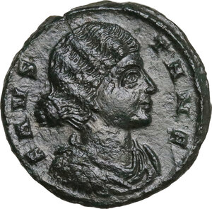 obverse: Fausta, wife of Constantine I (324-326). AE Follis. Thessalonica mint, 318-319