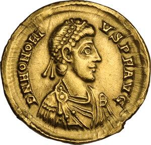 obverse: Honorius (393-423). AV Solidus, Mediolanum mint, 402-423 AD