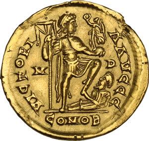reverse: Honorius (393-423). AV Solidus, Mediolanum mint, 402-423 AD