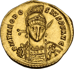 obverse: Theodosius II (402-450). AV Solidus, Constantinople mint, 425-429 AD