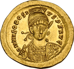 obverse: Theodosius II (402-450). AV Solidus, Constantinople mint, 441-450 AD