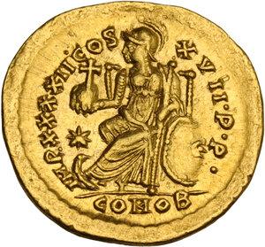 reverse: Theodosius II (402-450). AV Solidus, Constantinople mint, 441-450 AD
