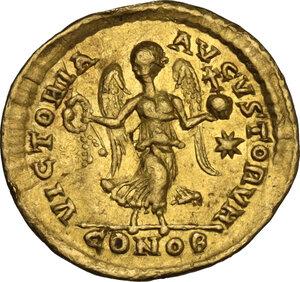 reverse: Theodosius II (408-450). AV Tremissis. Constantinople mint, 408-419