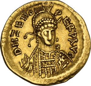 obverse: Ostrogothic Italy, Theoderic as kings of the Goths (474-493). AV Solidus, in the name of Zeno. Uncertain mint (Ticinum?)