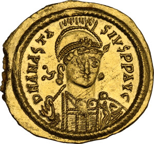 obverse: Ostrogothic Italy, Theoderic (493-526). AV Solidus, in the name of Anastasius I. Rome mint, c. 491-518 AD