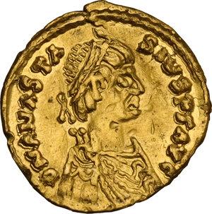 obverse: Ostrogothic Italy. Theoderic (493-526). AV Tremissis in the name of Anastasius, c. 491-518 AD