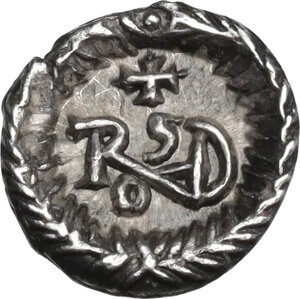 reverse: Ostrogothic Italy, Theoderic (493-526). AR Quarter Siliqua in the name of Anastasius I. Ravenna mint, c. 493-518