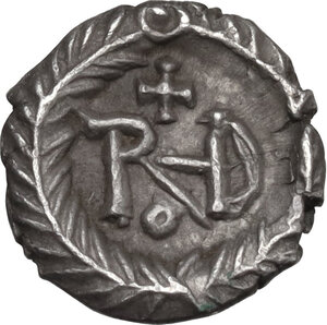 reverse: Ostrogothic Italy. Theoderic (493-526). AR Quarter Siliqua in the name of Justin I. Ravenna mint, c. 518-526 AD