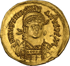 obverse: Ostrogothic Italy, Athalaric (526-534). AV Solidus in the name of Justinian I. Rome mint, c. 527-530 AD