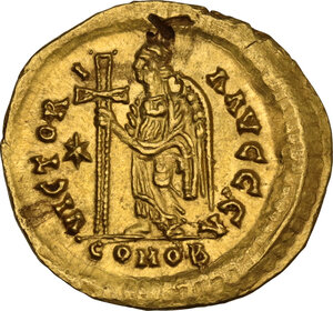 reverse: Ostrogothic Italy, Athalaric (526-534). AV Solidus in the name of Justinian I. Rome mint, c. 527-530 AD