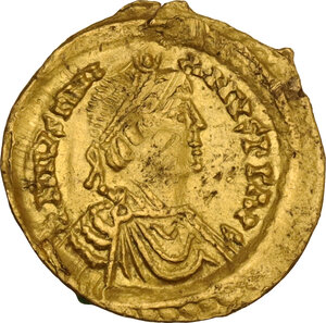 obverse: Ostrogothic Italy, Athalaric to Witigis (526-540). AV Tremissis in the name of Justinian I. Rome mint