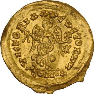 reverse: Ostrogothic Italy, Athalaric to Witigis (526-540). AV Tremissis in the name of Justinian I. Rome mint