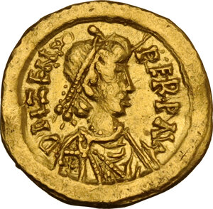 obverse: Uncertain Germanic tribe. Pseudo-Imperial coinage. . Unattribute AV Tremissis in the name of Zeno (474-491)