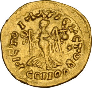 reverse: Uncertain Germanic tribe. Pseudo-Imperial coinage. . Unattribute AV Tremissis in the name of Zeno (474-491)