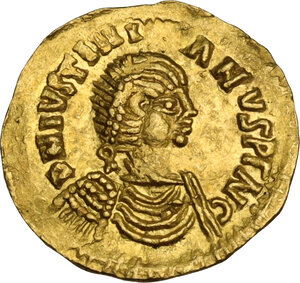 obverse: Pseudo Imperial coinage. AV Tremissis in the name of Justinian I