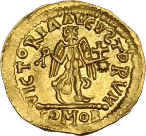 reverse: Pseudo Imperial coinage. AV Tremissis in the name of Justinian I