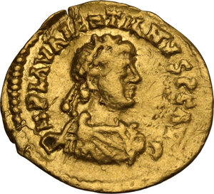 obverse: Visigoths, Gaul. Pseudo-imperial coinage. AV Tremissis in the name of Valentinian III, c. 417-507 AD