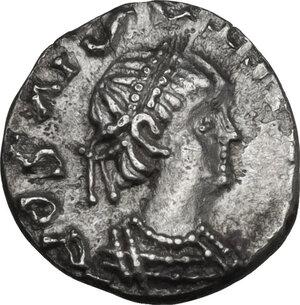 obverse: The Gepids. Uncertain king . AR Quarter Siliqua, in the name of Byzantine Emperor Anastasius I (491-518). Sirmium mint, c. 491-517 AD