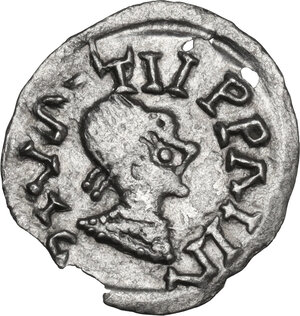 obverse: The Gepids. Uncertain king. AR Quarter Siliqua, in the name of Byzantine Emperor Justin I (517-527). Sirmium mint